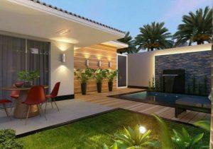kolam renang minimalis di halaman belakang rumah