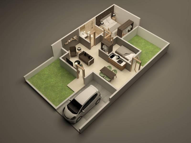15+ Contoh Denah Rumah Minimalis 2 Kamar